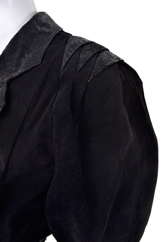 Unique 1980's black suede leather vintage jacket