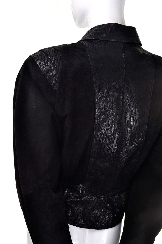 1980's vintage jacket black suede statement sleeves