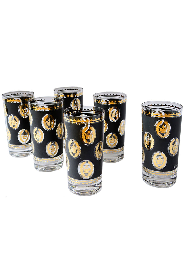 Libbey Glass G Reeves 22k Gold Glasses Highballs