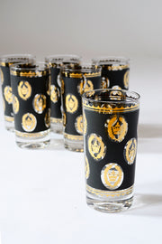 6 Libbey Glass G Reeves 22k Gold Glasses Highballs