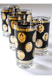 Mid Century Libbey Glass G Reeves 22k Gold Glasses Highballs