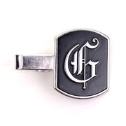 Swank 1940's vintage silver tie bar and calligraphic G