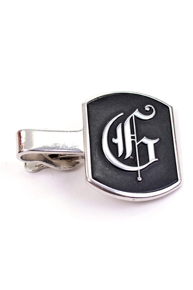 Calligraphy initial G personalized vintage tie clip