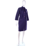 1980s Ladies Purple Wool Vintage James Galanos Coat