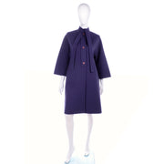 Deep Purple Wool Vintage James Galanos Coat