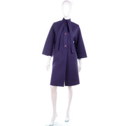 Vintage Galanos Purple Wool Coat 1980s