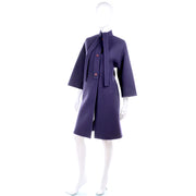 1980s Vintage Coat in Purple Wool by James Galanos