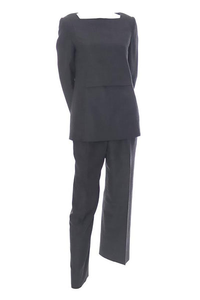 Minimalist style Galanos gray wool two piece outfit with a tunic top and trouser pants