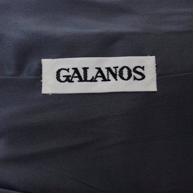 Minimalist style Galanos gray wool two piece outfit with a tunic top and trouser pants Label