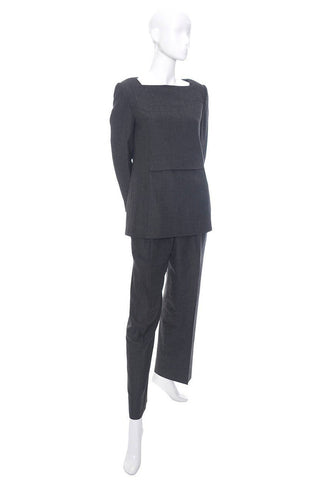 Minimalist Galanos vintage gray wool two piece outfit with a tunic top and trouser pants