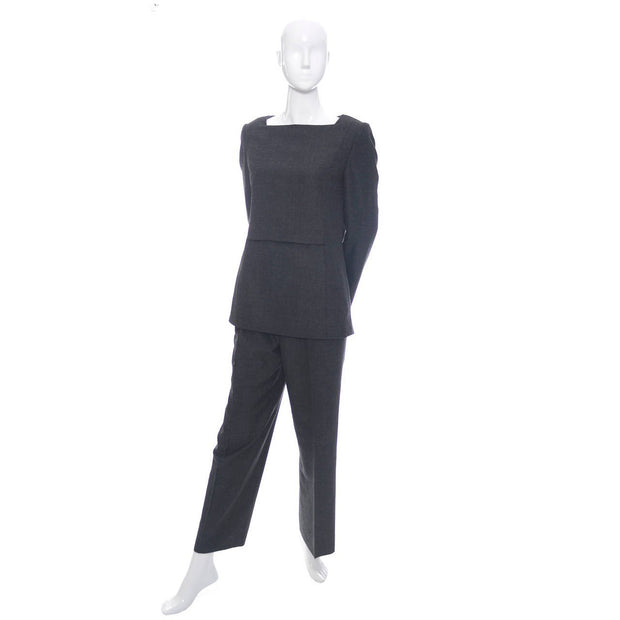 Minimalist vintage Galanos gray wool two piece outfit with a tunic top and trouser pants
