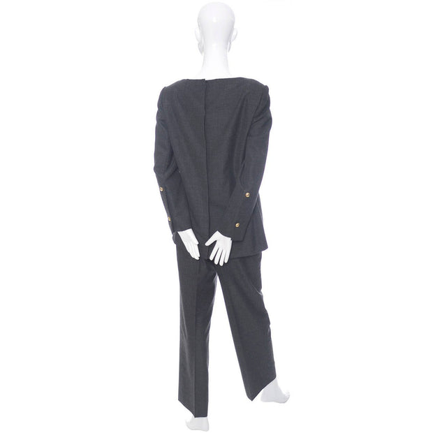 Minimalist style Galanos gray wool two piece outfit with a tunic top and trouser pants suit