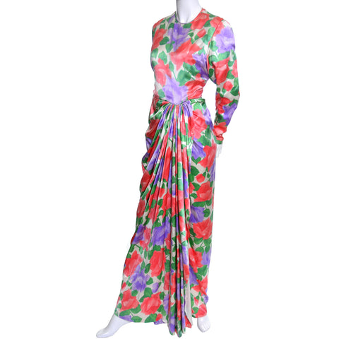 James Galanos Vintage Dress Floral Silk Evening Gown Draping - Dressing Vintage