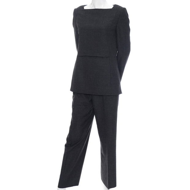 Minimalist vintage Galanos gray wool two piece suit outfit with a tunic top and trouser pants