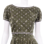 Gay Gibson Vintage Green Paisley Dress short sleeves