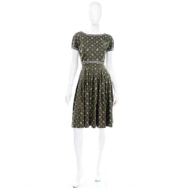 Gay Gibson 2 pc Vintage Green Paisley Dress