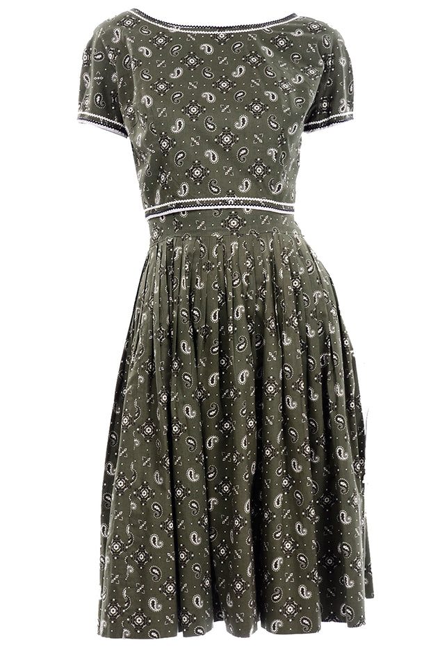 Gay Gibson Vintage Green Paisley Dress