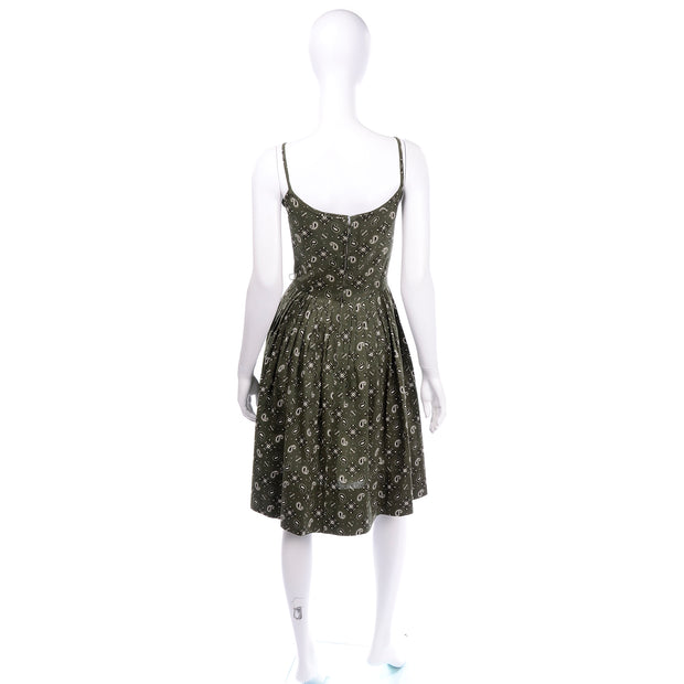 Gay Gibson Vintage Green Paisley Dress 2 pc