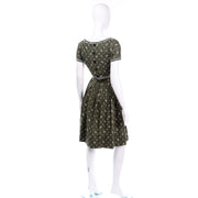 Gay Gibson Vintage Green Paisley Dress 60s