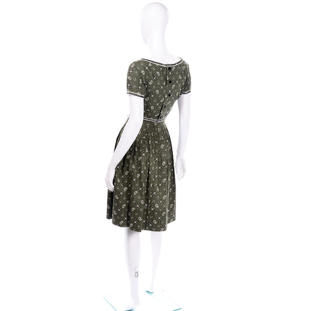 Gay Gibson Vintage Green Paisley cotton Dress