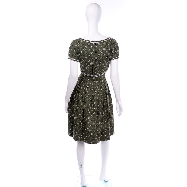 Gay Gibson Vintage Green Paisley Dress cotton
