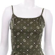 Gay Gibson Vintage Green Paisley Dress 2 piece
