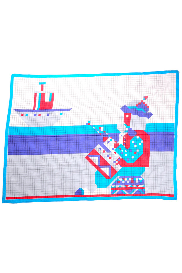 Geoffrey Beene Vintage Blue Red & White Oversized Cotton Ship Scarf