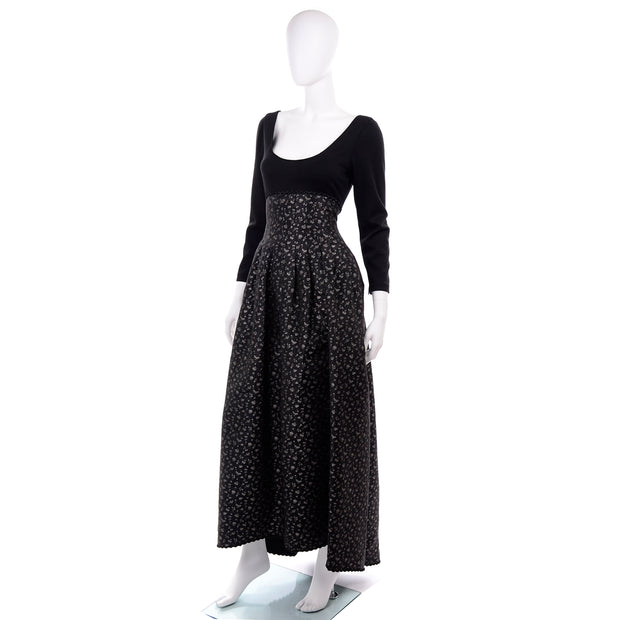 F/W 1989 Geoffrey Beene Black & Silver Floral Evening Dress & Bolero