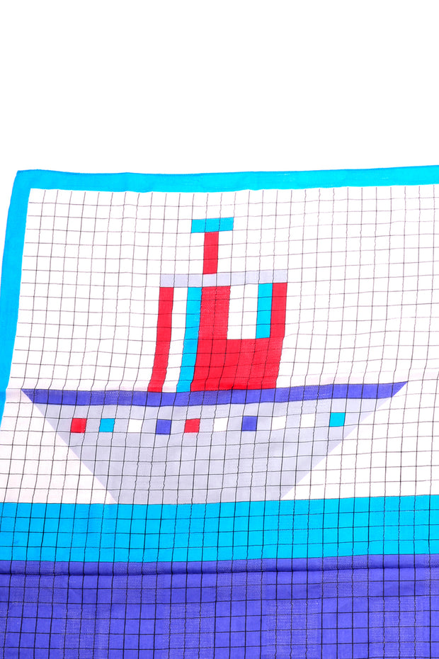 Lego Like Geoffrey Beene Vintage Blue Red & White Oversized Cotton Ship Scarf