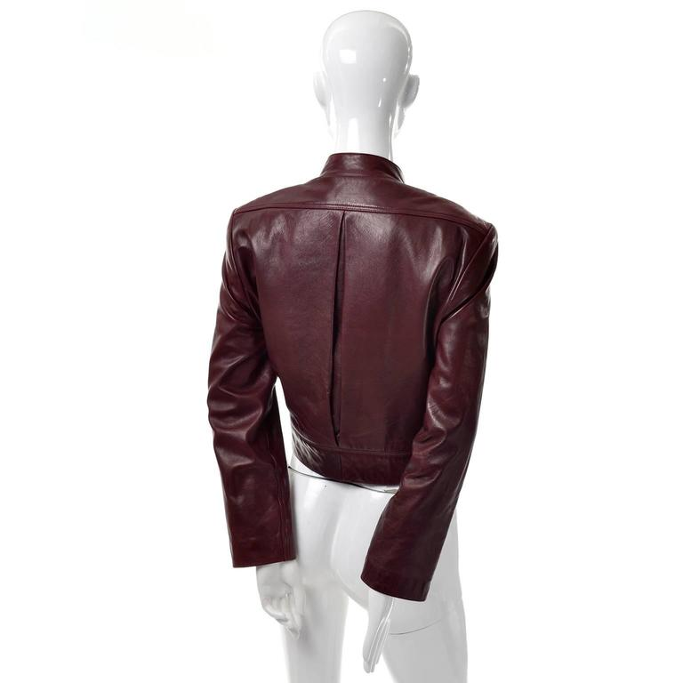 Pleated back Geoffrey Beene mandarin collar 1990's vintage leather jacket