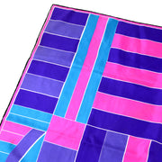 1960s Gold-Piece Collection Vera Neumann Pink, Purple & Teal Geometric Striped Scarf