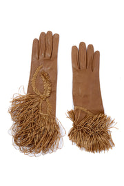 Gianfranco Ferre Vintage Leather Gloves w Raffia Embroidery