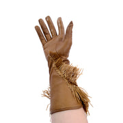 Rare Gianfranco Ferre Vintage Soft Leather Gloves w/ Embroidered Raffia