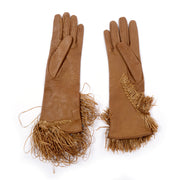 Gianfranco Ferre Gloves with Raffia Fringe