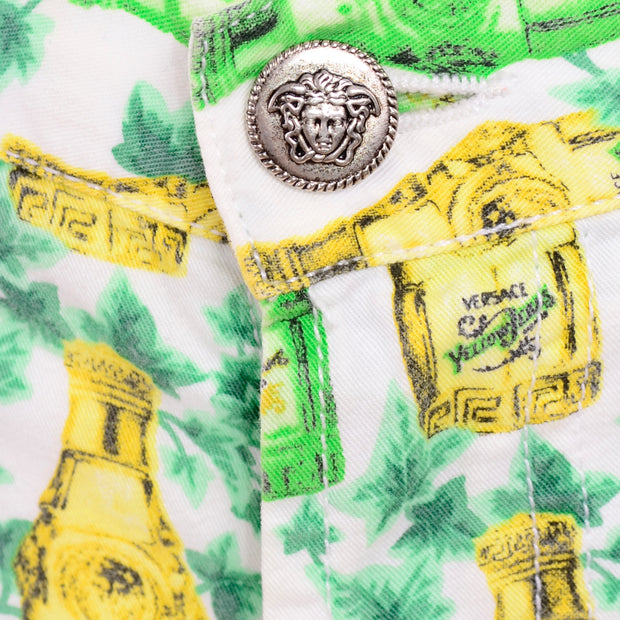 Vintage Versace Jeans Couture Yellow Jeans Perfume Bottle Green Ivy Print Pants