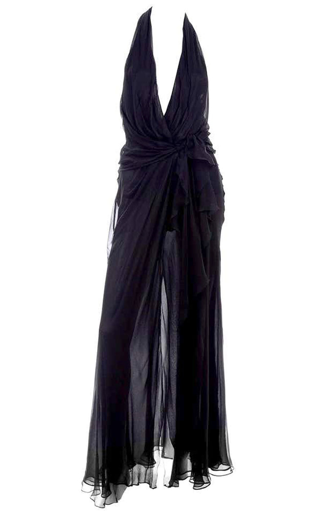 1990s Gianni Versace Sheer Black Silk Chiffon Halter Evening Dress