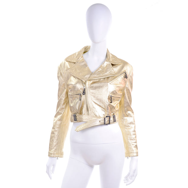 F/W 1994/95 Gianni Versace Embossed Gold Leather Moto Jacket