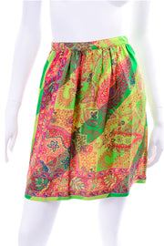 1990s Gianni Versace Red, Green, Yellow Scarf Print Mini Skirt