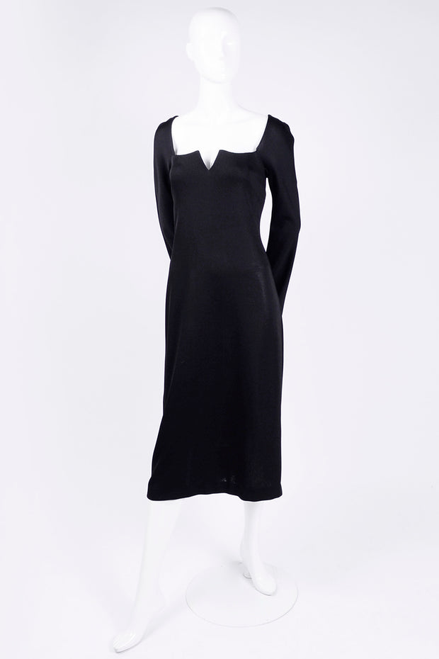 Slit neckline Gianni Versace Couture vintage black dress