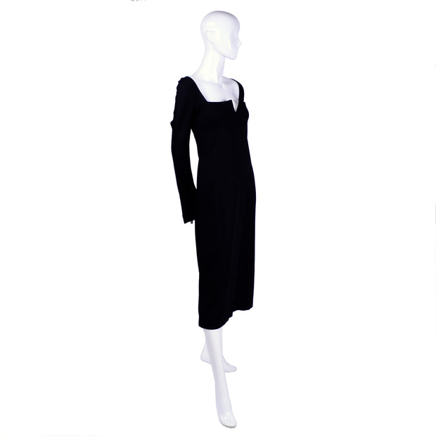 Long sleeve black vintage dress by Versace