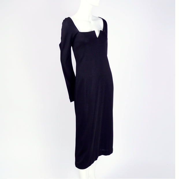 Vintage Versace black dress with slit neckline