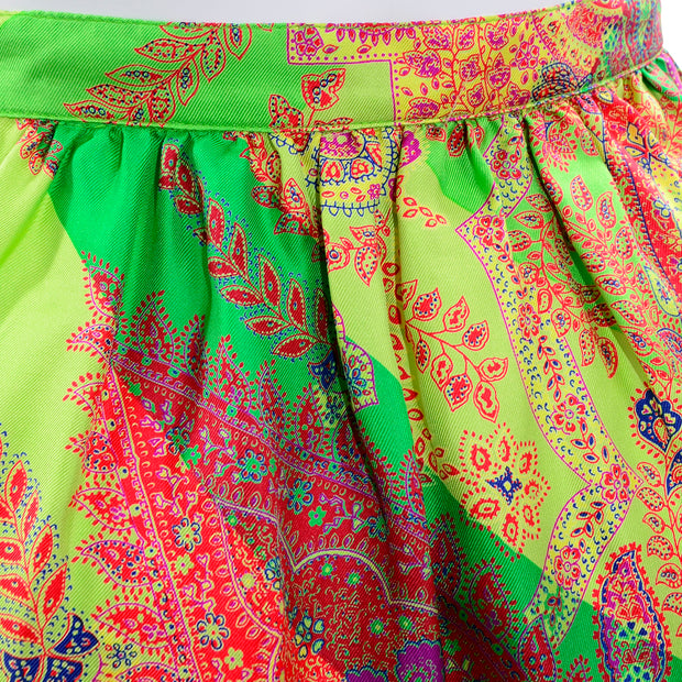 1994 Gianni Versace Silk Scarf Print Skirt in Yellow, Green and Pink Red