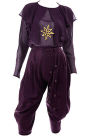 1981 Gianni Versace Purple Silk Pants Outfit