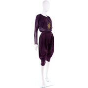 1980s Versace vintage purple silk and wool pants and top outfit