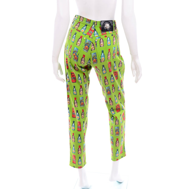 1990s Versace Jeans Couture Apple Green Bottle Print High Waist Pants