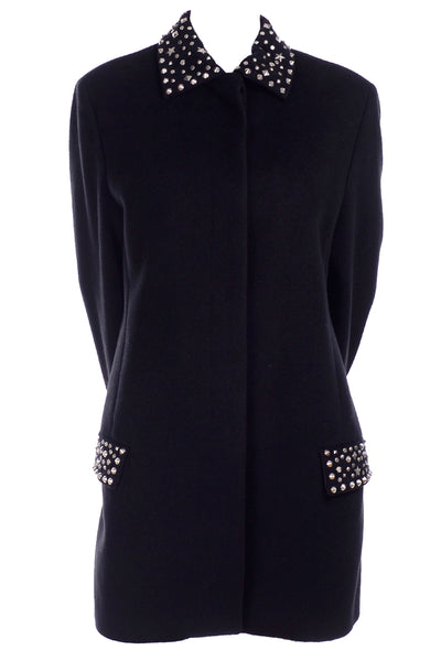 Gianni Versace black angora wool cashmere jacket