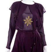 1980s Gianni Versace Purple Silk Chiffon Embroidered Top & Jodhpurs Outfit