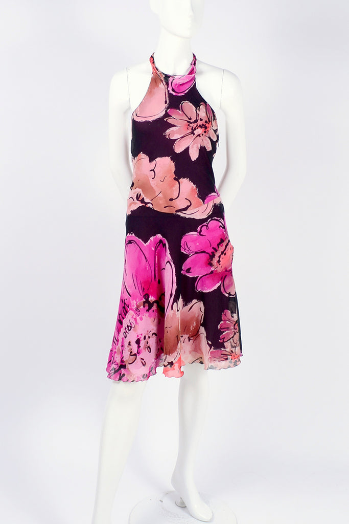Gianni Versace Couture Short Summer Halter Dress W Bold Floral