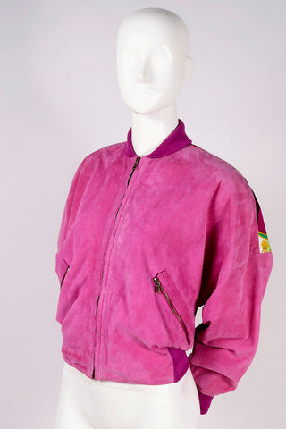 Gianni Versace Reversible Pink Suede Silk bomber jacket