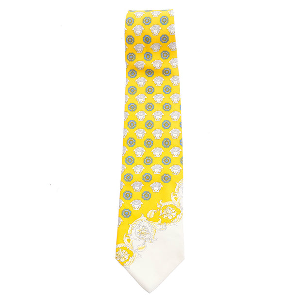 Gianni Versace vintage 90's yellow silk tie with medusa faces